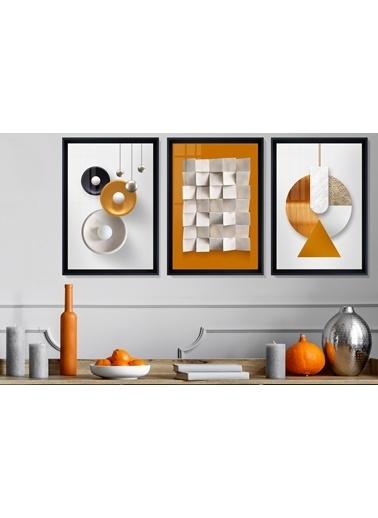 Çerçeve Home  Orange Love Siyah Çerçeve Tablo Seti Siyah